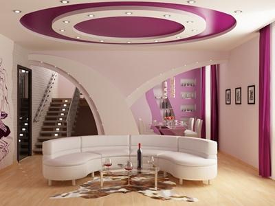 Фото: Двухуровневые потолочные гипсокартонные конструкции